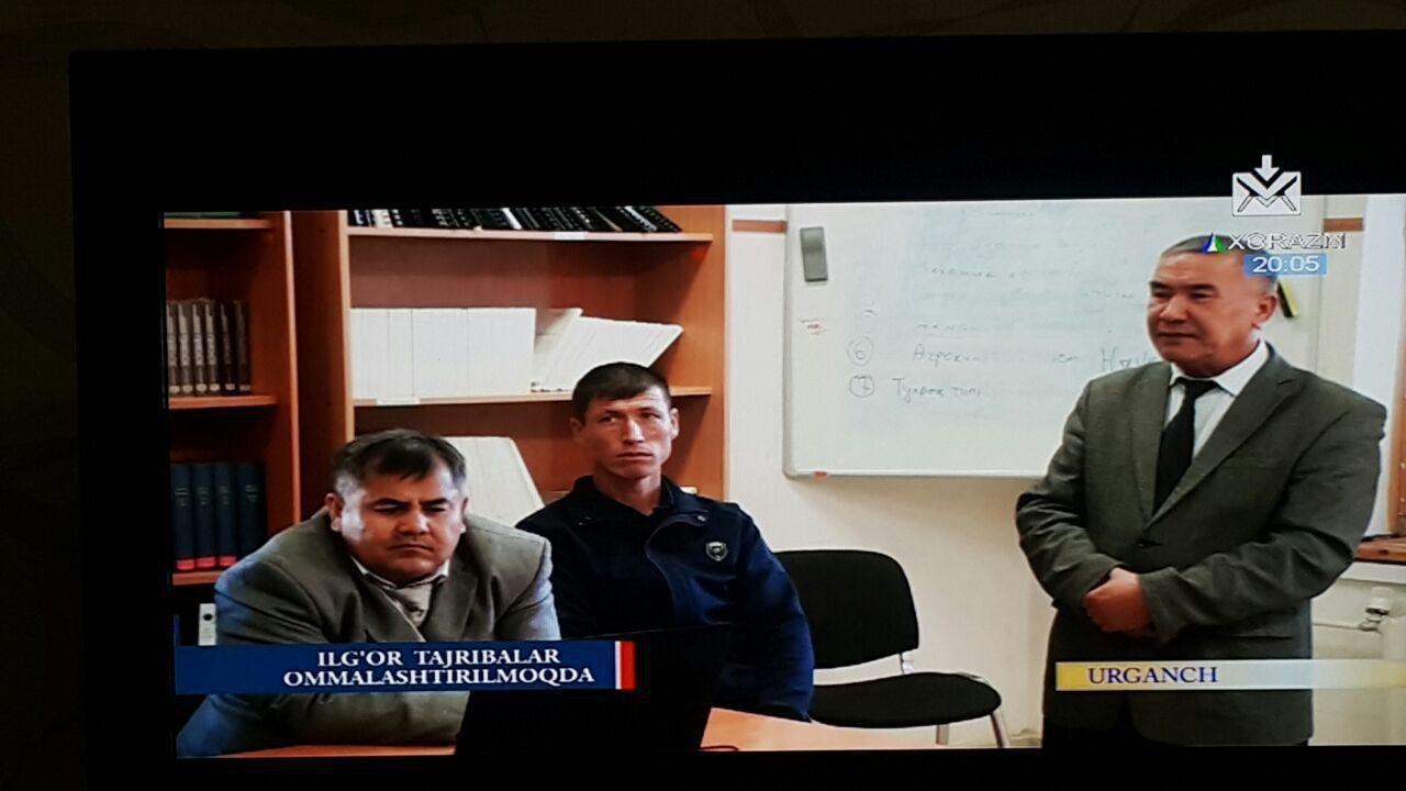 Associate Professor P. Kamolov, Head of the Department of Soil Science, spoke on Khorezm Television