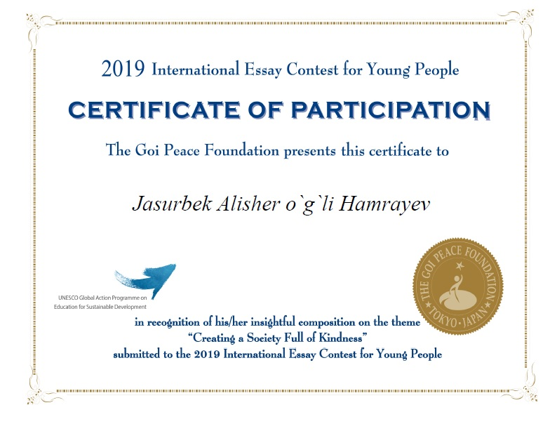 The special certificates for  Hamrayev Jasurbek who is a student of chemistry group №183 and chemistry teacher Ruzmetov Abror who is responsible to se