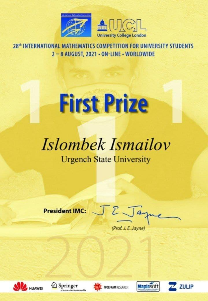 A student of Urgench State University took part in the International Mathematical Competition and won a gold medal